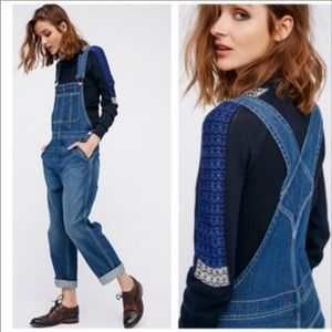 Free People Baggy Boyfriend Overalls Yale Blue 24